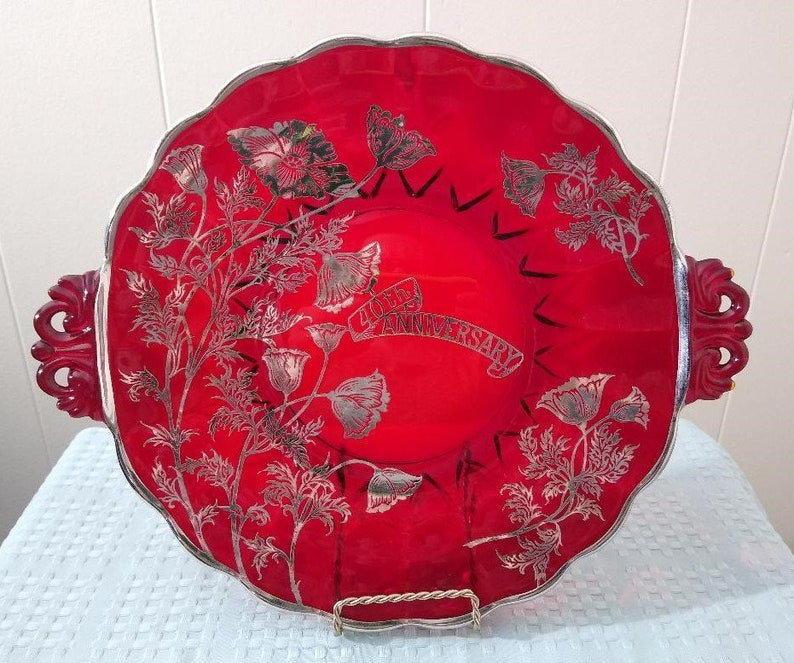 40th Anniversary Ruby Red Serving Platter Silver City Glass Company Flanders Poppy Pattern