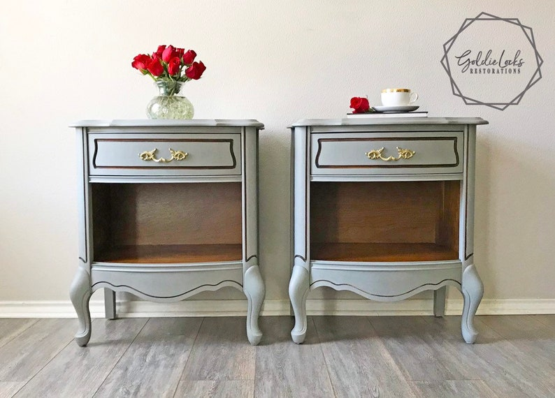 SOLD  Pair Of Vintage French Provincial Side Tables/ End Tables/ Night  Stands