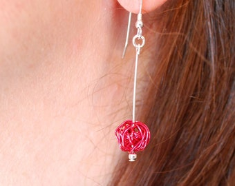 Hand coiled wire drop earrings - raspberry pink colour