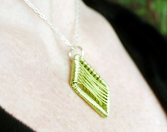 Hand woven waffle wire pendant - fresh chartreuse green colour