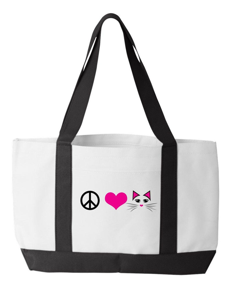 For Hippies Who Love Cats Cat Lover Gift for Cat Mom or Crazy Cat Lady Craft Love Beach Cat Bag ~ Peace Tote or Knitting Bag. /& Cats