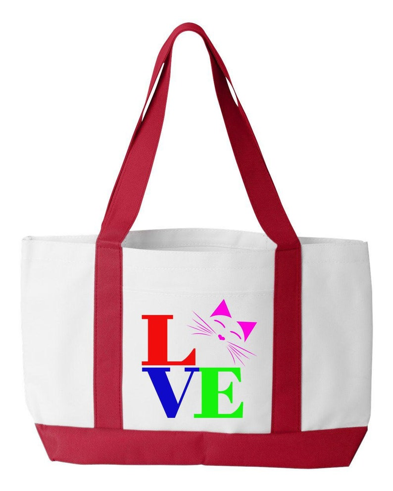 247f39e8216e Cat Bag LOVE in Color. Cat Lover Gift for Cat Mom or Crazy