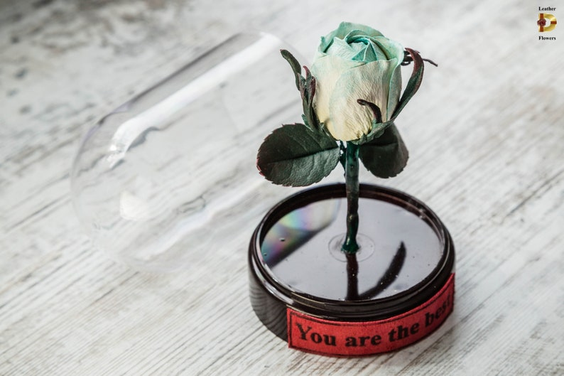 Beauty and the beast wedding Leather rose in glass dome