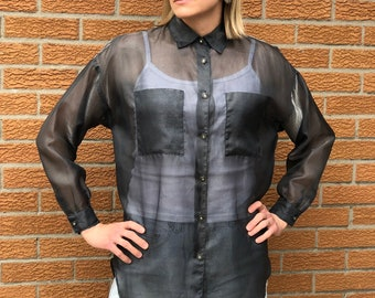 60e4c738 Amazing 90's Silver Sheer Organza Oversized Blouse | Made in Canada
