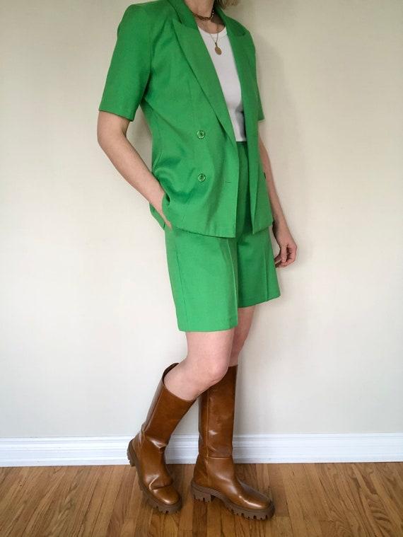 Vintage Lime Green Shorts Suit Set, size S/M