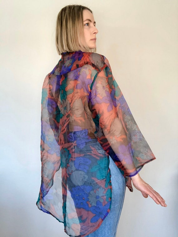 Gorgeous Sheer Floral Organza Blouse, size S-L