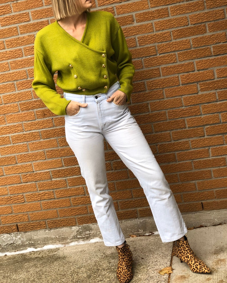 size S-L Vintage Double Breasted Lime Green Cropped Cardigan
