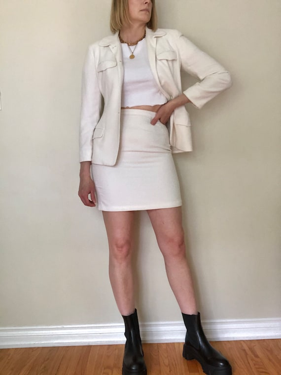 Vintage Anne Klein ll Skirt Suit Set | White Skirt