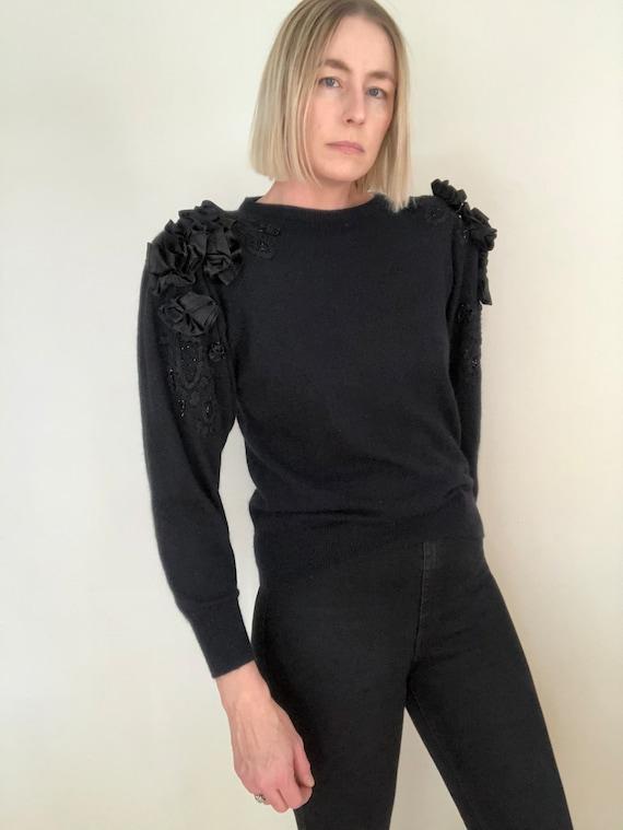Vintage Silk Angora Blend Puff Sleeve Sweater, siz