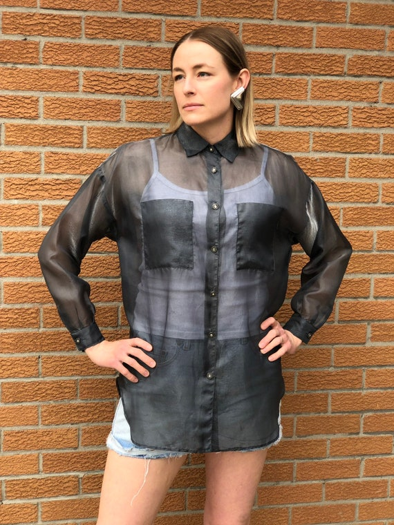 Amazing 90's Silver Sheer Organza Oversized Blouse