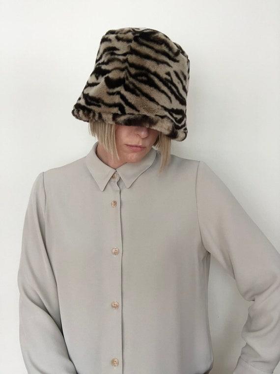 1990's Faux Fur Zebra Stripe Bucket Hat by Gilly F