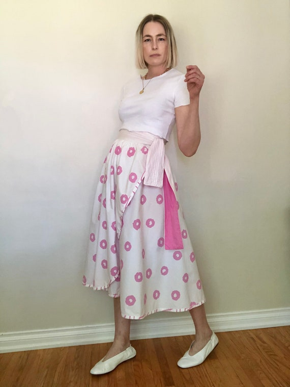 1980's Jeanne Marc Cotton Wrap Skirt, size M-L