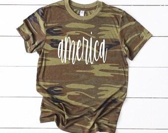 3b24068dca5d9 Merica Tee, Camo Tee, America Tee, Camo Shirt, Womens 4th of July Shirt,  4th of July, Merica Tank, USA Tee, Drinking tee, America Shirt