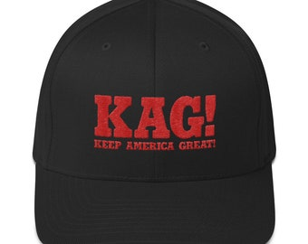 ff7abf7e9c4 Embroidered KAG! Keep America Great! Structured Twill Baseball Cap Pro  Trump Dad Hat w  Exclusive getKAGswag Design! Flexfit 6277