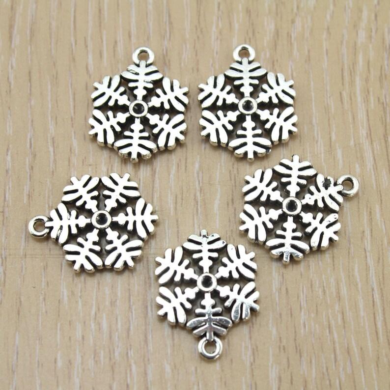 Vintage Jewelry Suplies 18x23mm 15pcs Bulk Sale,Antique Silver Snow Flake Pendant Tibetan Silver Tone -