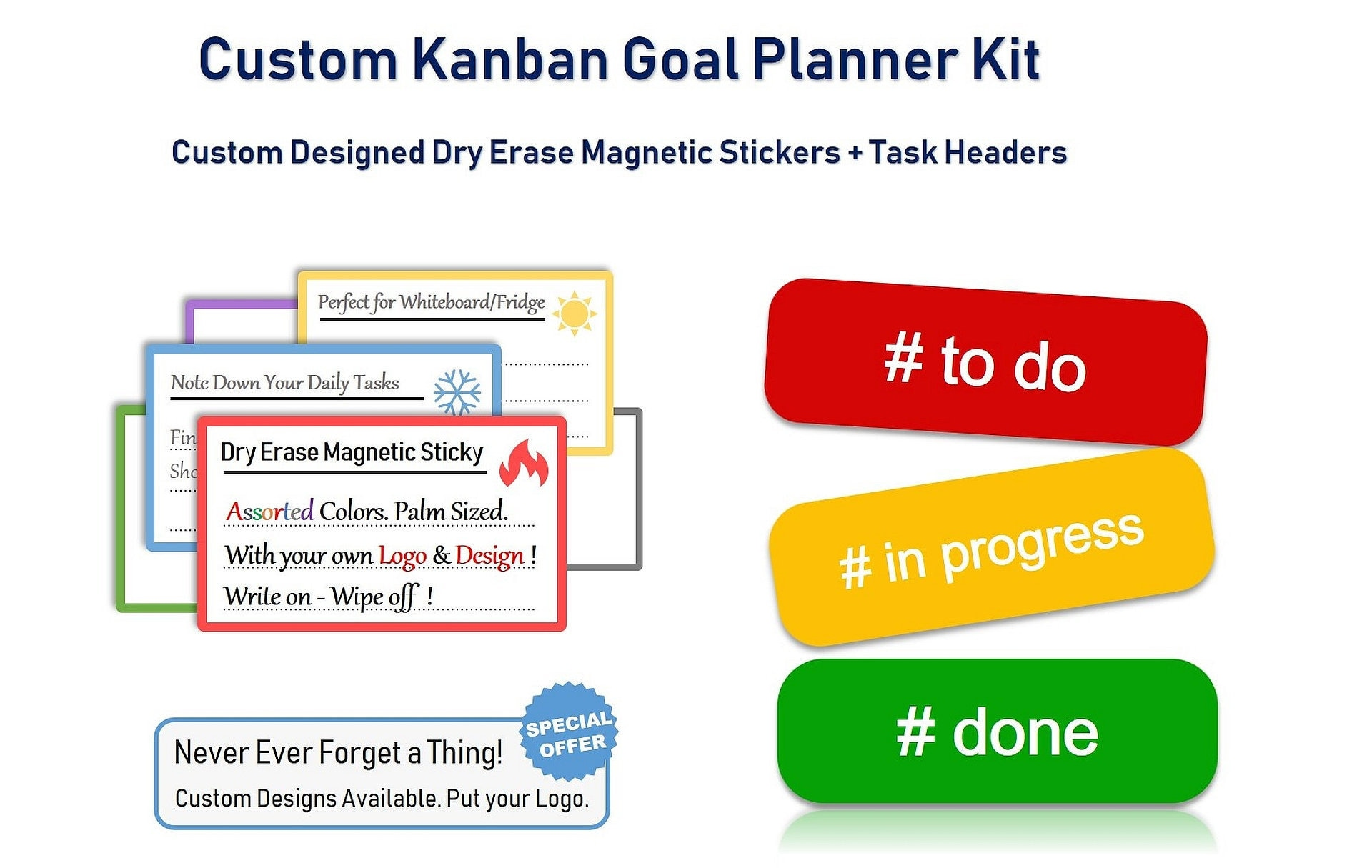 Custom dry erase cards white board stickers l magnetic kanban kit with task headers and stickers