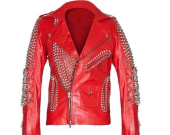 200746b3e41 Men Silver Studded Jacket Red Punk Silver Long Spiked Red Leather Biker  Jacket Side Zipper Pockets