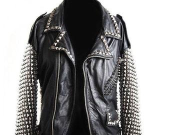 Ladies Bikers Orange Quilted Fringes Real Leather Handmade Silver Studded Belted Motorbike Punk Fashion Jacket