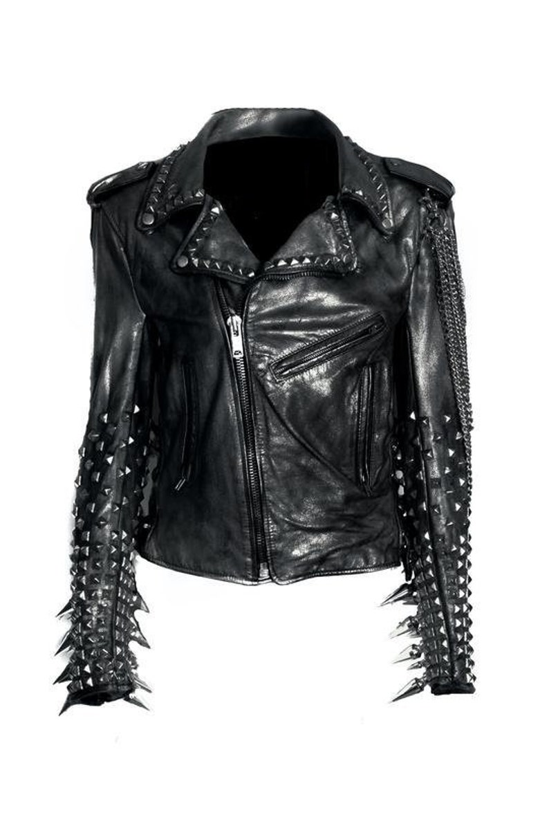 b426923e2 Men Black Silver Studded Long Spiked Brando Biker Cowhide Leather Jacket  Chain long Studs Long Studs on Sleeves Motorcycle Classic Vintage