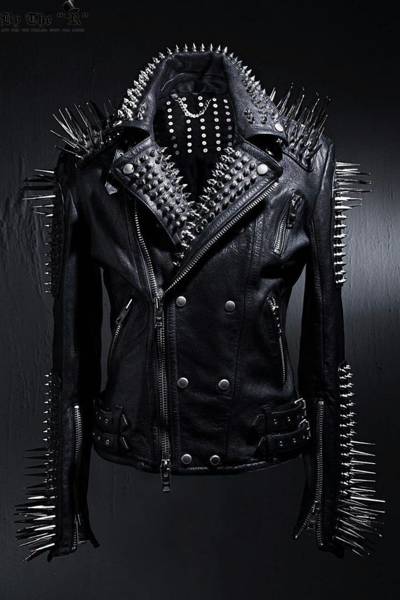 Men Silver Studded Long Spiked Jacket Leather Black Patches