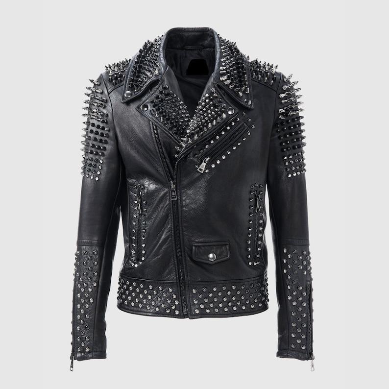 e93841998 Handmade Silver Biker Brando Mens Punk Biker Full Black Silver Studded  Biker Leather Jacket