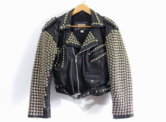 New Women Black Full Silver Cone Studded Zippered Style Leather Jacket All Size