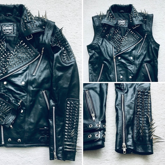 HANDMADE Long Spiked Studded Leather Jacket and Vest Two in One Removable Sleeves Mens Full Black Punk Silver Zipper Jacket Vest Studs Spike