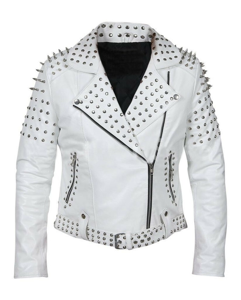 4e5f414e1 Customized Women's White Brando Style Belted Leather Silver Spike White  Studded Slim Fit Brando Jacket Spiked Leather Jacket Ladies Biker