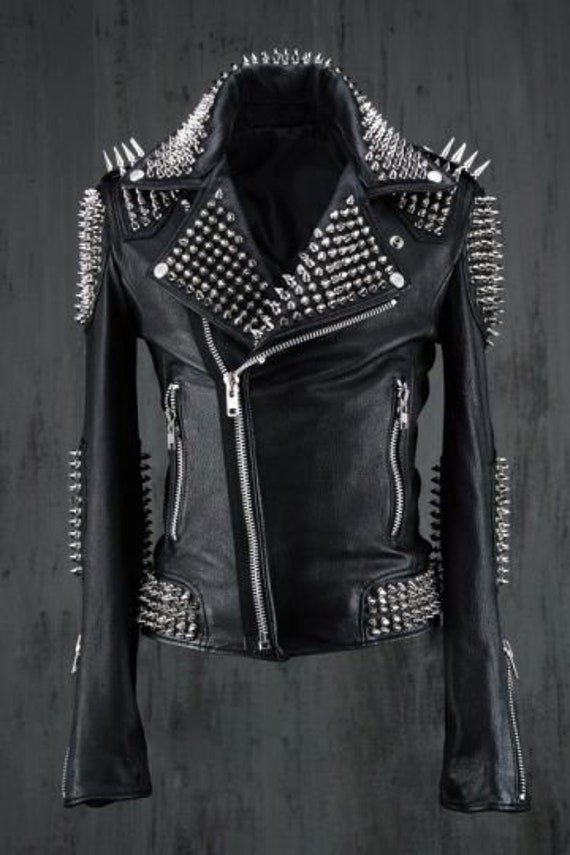 HANDMADE Men Black Punk Silver Long Spiked Studded Leather Buttons Up Jacket Silver Studs and Spikes Black Leather Made to Orders Studs Spik