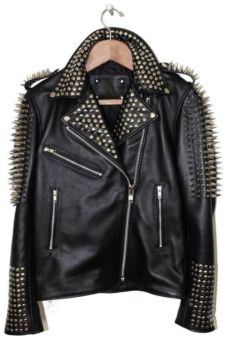 36b74aae8 Men's Handmade Black Punk Silver Long Spiked Studded Cowhide Leather Jacket  Silver Studs Belted Front Zipper Biker Style fashion