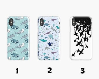 4284b556893 Shark Pattern iPhone Case 6 S 7 8 Plus XR XS Max and Samsung Galaxy Case S  6 7 8 9 Edge Plus S10 E Plus, Tough Cases&3D Cases