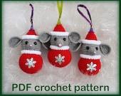 Amigurumi mouse. Christmas toy. Crochet pattern PDF.