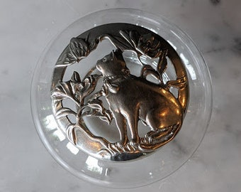 Cat String Holder Pewter Cat Potpourri Holder Gifts for Cat Lover Cat Gifts Seagull Pewter Anchor Hocking Glass Cat Potpourri Bowl