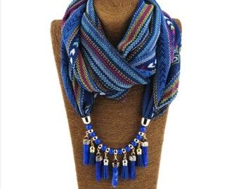 50e073edeeac Chiffon Scarf Scarves Vintage Pashmina Pendent Necklace Charm Shawl Water  Drop Pendant Acrylic Necklace Foulard Femme Wraps Stoles Sciapre