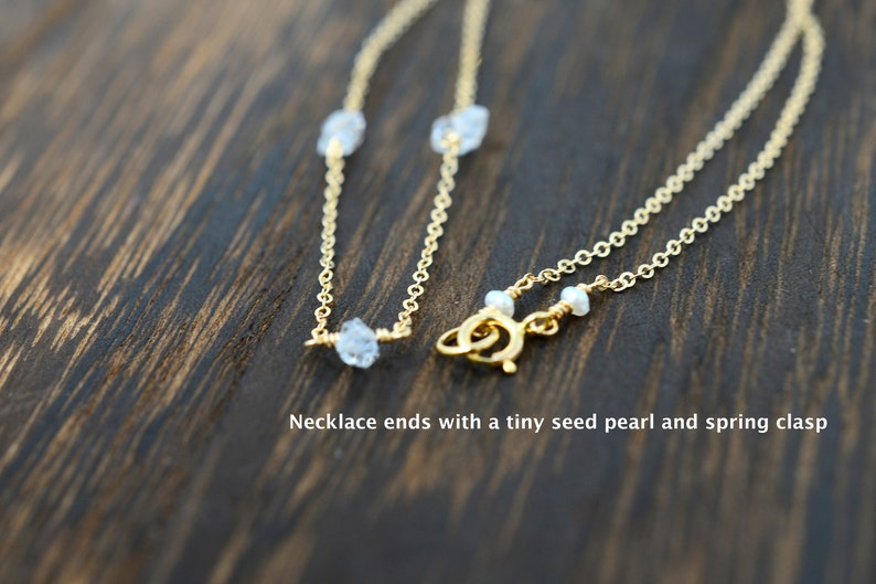Herkimer Diamond necklace 14K Gold Filled Herkimer Diamond Choker available in Sterling Silver /& Rose Gold Filled April month Birthstone