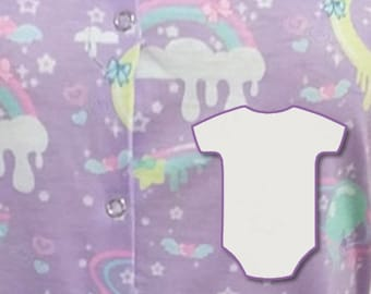 27c04524d0da Adult Snap Crotch Onesie ABDL - Sleeveless Frilly Space Clouds
