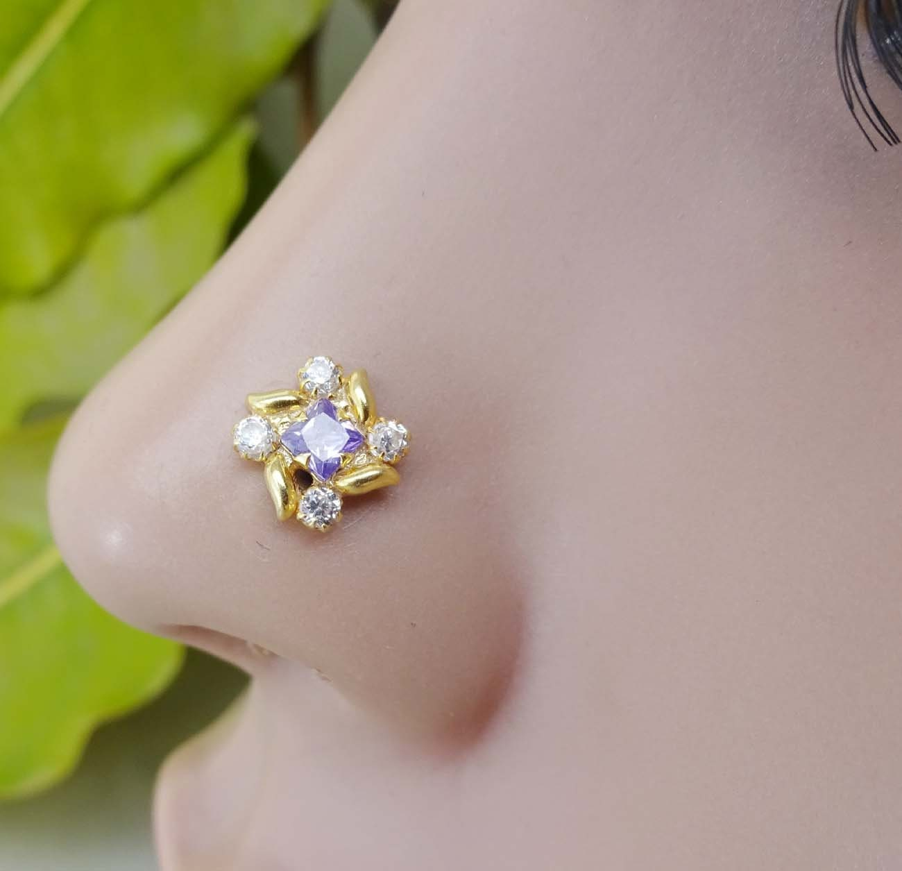 Body Jewelry Fashion Jewelry Good Sapphire Nose Stud White Gold Nose Stud Indian Nose Stud Silver Nose Piercing