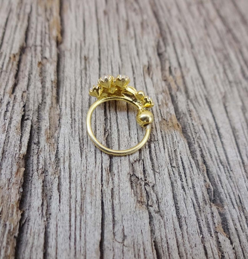 Crystal Nose Ring Gold Nose Ring 925 Sterling Silver Nose Ring Gold Nose Piercing Indian Nose Ring Black Stone Nose Ring Mother Day Gifts