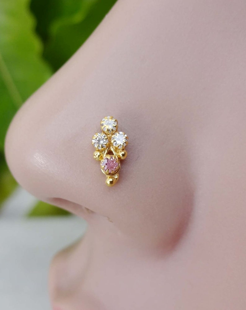Gold Nose Piercing Indian Nose Stud Ruby Nose Stud Gold Nose Jewelry 925 Sterling Silver Nose Stud Gift For Her Christmas Day Special Gift