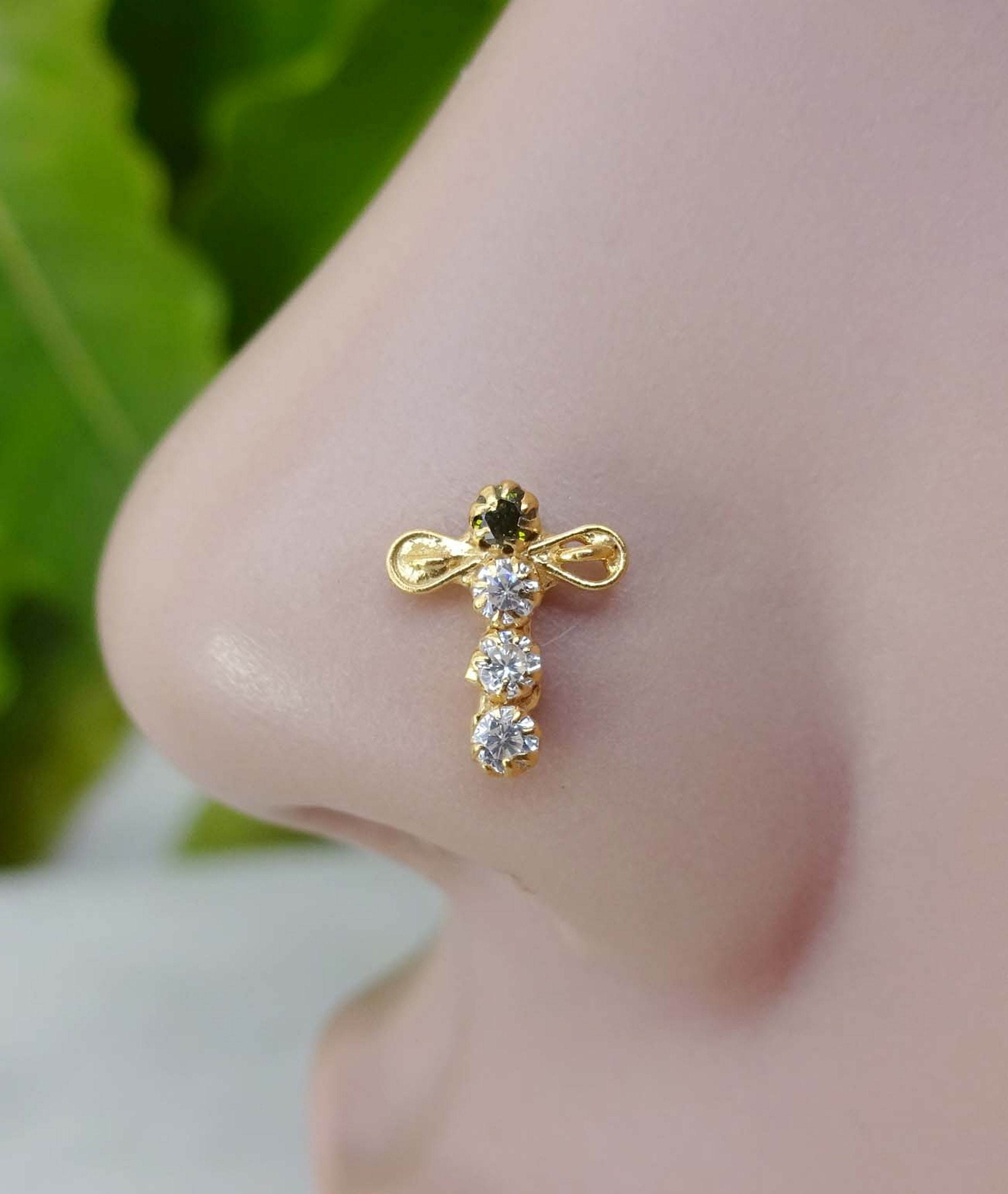 Nose Stud Gold Nose Jewelry Back Screw Nose Stud Nose Ring Etsy