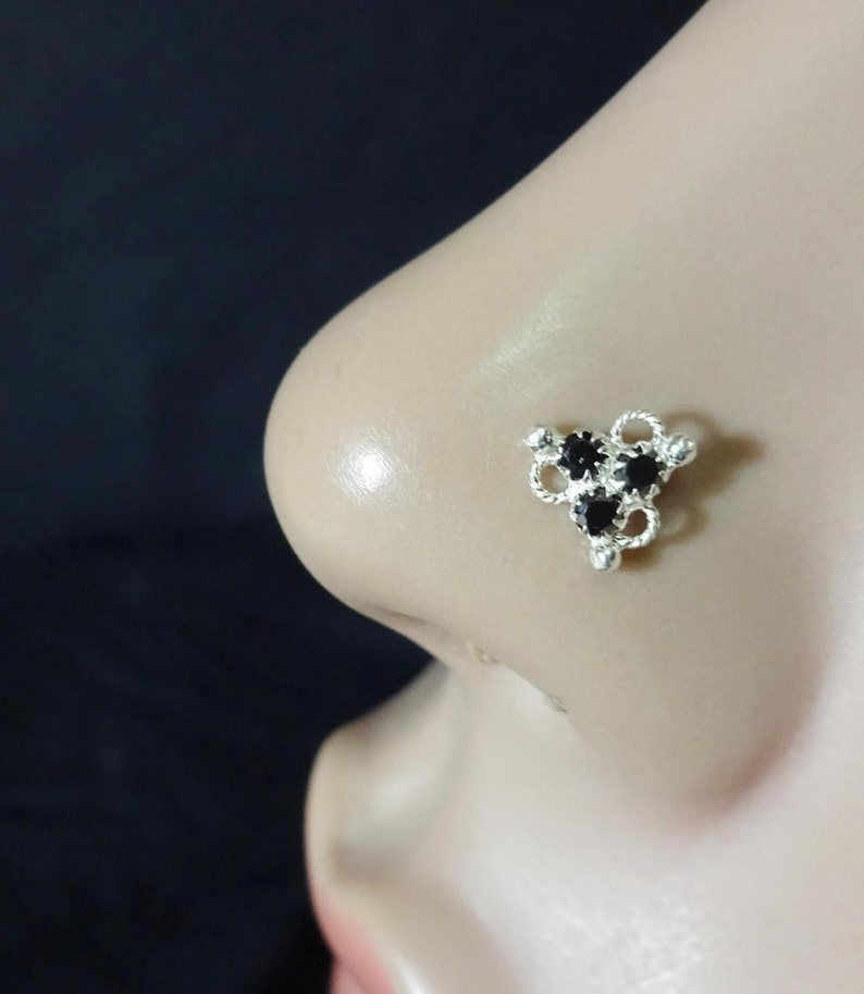 925 Sterling Silver Nose Stud Indian Nose Stud White Gold Nose Etsy