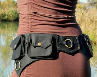 Pockets belt ~ Utility belt ~ Hip bag ~ 5 pockets ~ Black cotton ~ Unisex ~ The Ailetsbelt