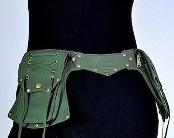 Nature Fairy Skirt NEUTRAL DUST Warrior Belt Leather Utility Belt Leather Festival Belt Burning Man Belt