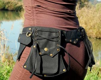 Pocket belt ~ Utility belt ~ Festival and travel hip bag ~ With 5 pockets ~ Black cotton ~ Unisex ~ The Celticbelt