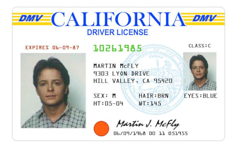 Printable License Marty Mcfly Driving 10 Etsy Cards