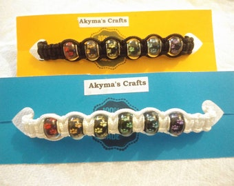 Rainbow Bridge, Pet Loss Memorial Bracelet, Pawprint Adjustable,  Macrame Bracelet (Black Beads)