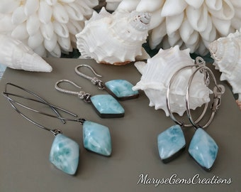Kite Shape Larimar Earrings 3 Styles Genuine Larimar Sterling Silver Earrings Long hooks Hoops Real Larimar Silver Earrings Fancy Hooks