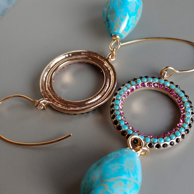 Natural stabilized Turquoise Micro Paved Steel Ring Gold Plated Earrings Turquoise Eearings Turquoise Gold Earrings Gold Plated Steel