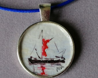 London Barge ORIGINAL hand painted on a pendant 25mm