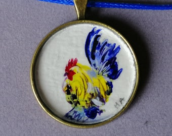 Hen Rooster ORIGINAL painting on a pendant 30mm